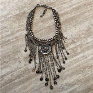 Silver Bohemian bib statement necklace